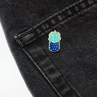 Blue Succulent Enamel Pin (Costume Gold)