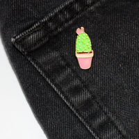 Cactus & Pink Pot Enamel Pin (Costume Gold)