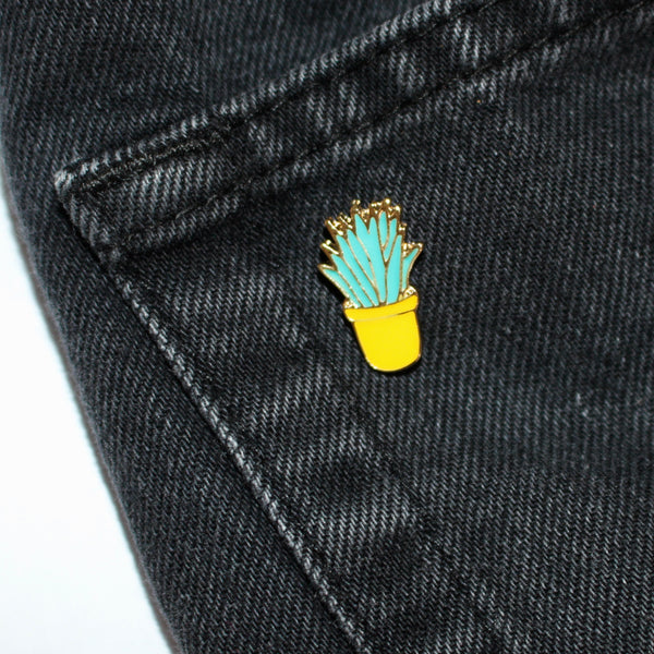 Snake Plant & Yellow Pot Enamel Pin (Costume Gold)