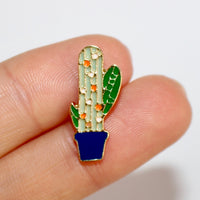 Speckled Cactus & Blue Pot Enamel Pin (Costume Gold)