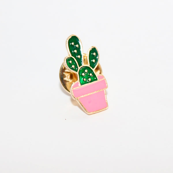 Cactus & Pink Pottery Enamel Pin (Costume Gold)