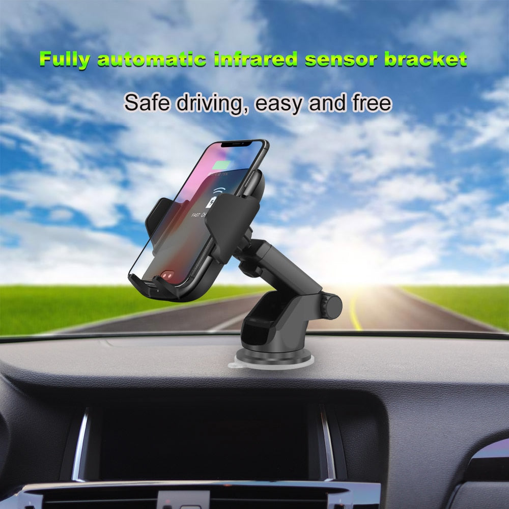 Fast Wireless Car Charger & Car Phone Holder