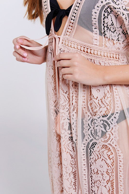 Shop Rosé All Day Maxi Kimono Youll definitely want to hit the wineries in this one! This sheer number is embroidered with delicate lace designs adding the perfect touch. Finished with a tassel waist band this kimono screams summer! Sheer rose kimono Light weight Short sleeve Tassel waist tie 58.00 USD // ShopBellaAllure.com