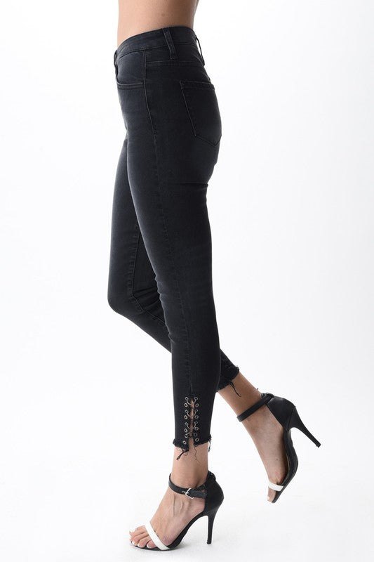 Shop Jake Skinny Black Jeans Spice up your plain old black jeans with our to die for Jake jean! With slight distressing and metal embellishments these jeans have it all. Pair these with any outfit for the perfect statement. Metal hoop embellishments Skinny fit Slight distressing  48.00 USD // ShopBellaAllure.com