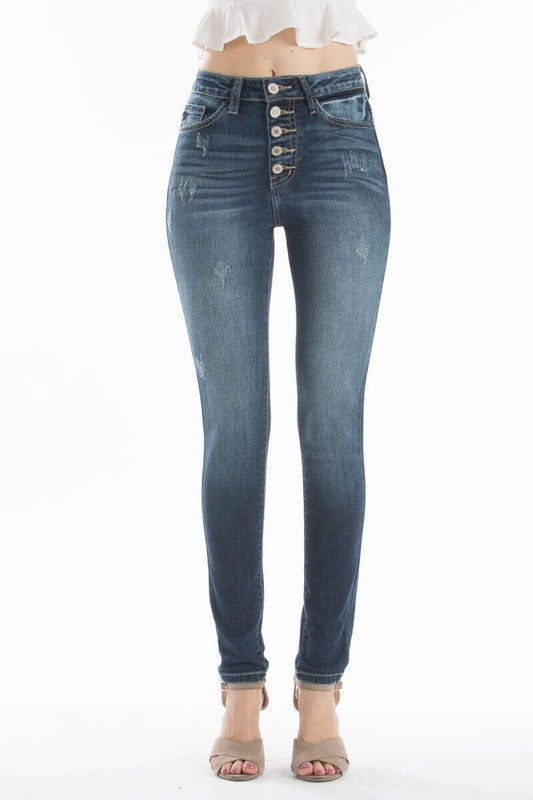 Shop Miranda Skinny Jean The to die for medium wash skinny! With limited distressing this button fly is the star. The perfect fit molds to all bodies and wears like another skin. Absolute heart eye for this denim! Mild distressing Button fly Skinny fit  52.00 USD // ShopBellaAllure.com