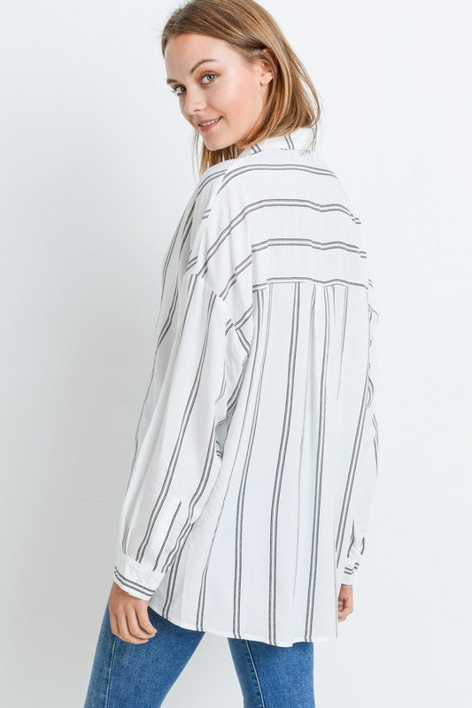 Polly White with Black Pinstripe Top | Bella Allure Boutique