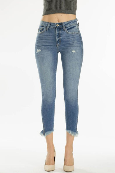Shop Ross Skinny Jean A twist on the original skinny jean! Our Ross jean features shredded ankles for a unique look that will set you aside from the crowd. Medium Wash Mid Rise Distressed Shredded Bottom Skinny Jean 52.00 USD // ShopBellaAllure.com