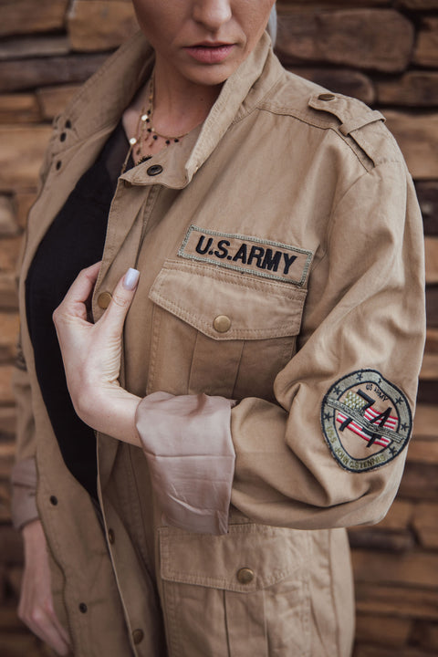 Shop Sargent Jacket When stepping out in this jacket youll definitely be calling everyones attention! Perfect for the rainy day blues to keep you warm and stylish! Army Jacket Runs One Size Small Fitted Sleeves Heavy material  48.00 USD // ShopBellaAllure.com