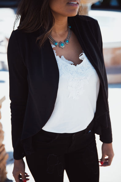 Waterfall Black Casual Blazer | Bella Allure Boutique