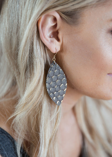 Shop Athena Grey/Gold Earrings One of our favorites! Add these for a little subtle sophisticated addition to your ensemble!  16.00 USD // ShopBellaAllure.com