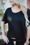 Shop Bella Crop Tee Calling all bella babes! This is a SoCal must have... With a cropped fit and a soft breathable material this makes for the perfect everyday must have! Match with any outfit to add a cute and casual element. Also available in White! Soft material Cropped and short sleeve fit Small BA logo 16.00 USD // ShopBellaAllure.com