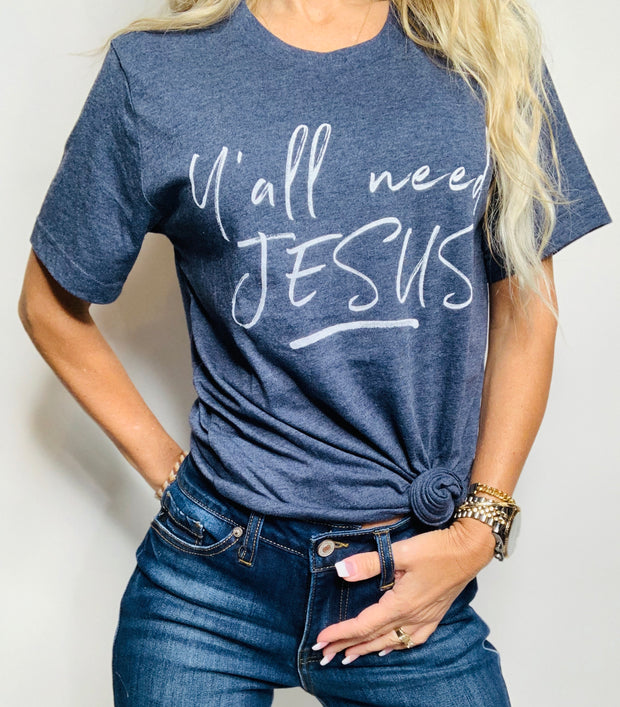 Y'all Need Jesus Navy Graphic