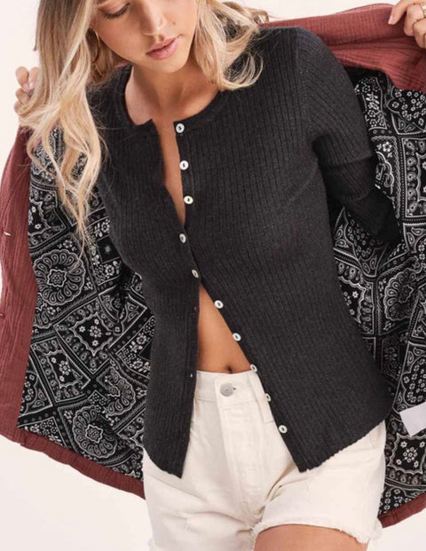 Ready Or Not Cardigan Top Black
