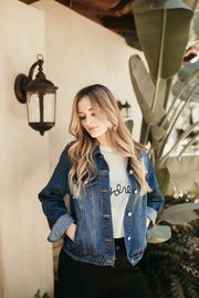 Shop Dusk Til Dawn Denim Jacket You cant go wrong with our Dusk Til Dawn Denim Jacket! A year round casual essential that everyone needs in their closet! This jacket features a medium wash with slight distressing, button down front and two side pockets. 46.00 USD // ShopBellaAllure.com