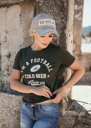 Shop Football & Beer Tee Its that time of year again when the weather turns cooler and the game is what your watching! Let them all know youre a Football and Cold Beer Kinda Girl with this fun little graphic tee. Relaxed fit and true to size. 32.00 USD // ShopBellaAllure.com