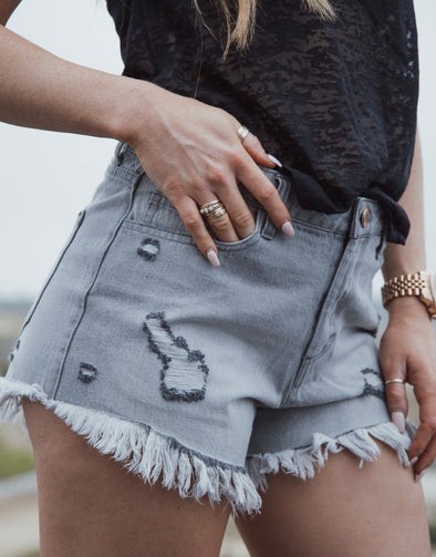 Denim Daisy Shorts Grey | Bella Allure Boutique