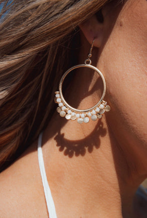 Shop Little Flirt Earings Have some fun and be a little flirty in these gold hoop embellished earings. 16.00 USD // ShopBellaAllure.com
