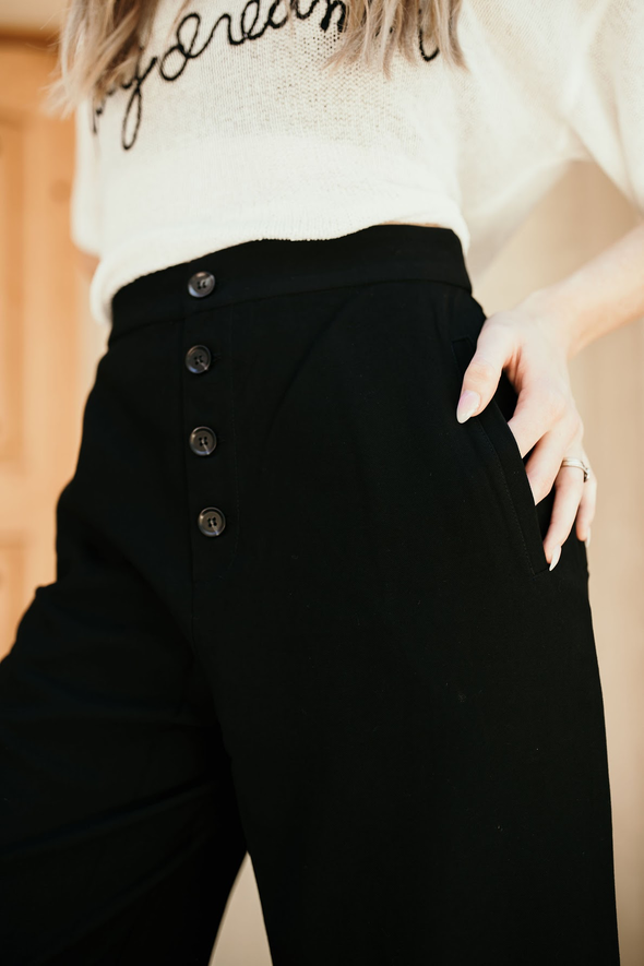 Shop Geneva Pant We are totally in love with these high wasted button down wide leg pants! Just so cute! Classy enough for any event - a total must have! Paired here with our Day Dreamer Top.  54.00 USD // ShopBellaAllure.com
