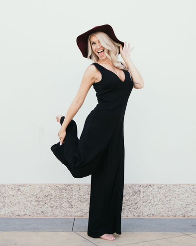 Shop Mauricio Black Jumpsuit Stay a little sassy in the Mauricio jumpsuit! This sleeveless number is perfect for the warm weather, with a double v neckline and an eye catching criss crossed back. Pair with a hat and heels and hit the wineries ladies!  Sleeveless jumpsuit  Wide flare leg Double V neckline 54.00 USD // ShopBellaAllure.com
