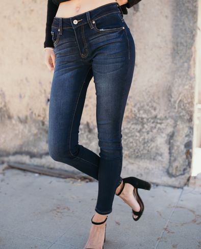 Shop Flynn Jean Our Flynn Jeans are a mid-rise super skinny fit with a dark blue wash. So comfortable, they feel like you are wearing your favorite pair of leggings but look much cuter! 54.00 USD // ShopBellaAllure.com