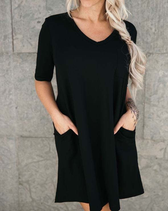 Shop Classic T-Shirt Dress This Classic T-Shirt Dress has an amazing feel! Made from a nylon/rayon blend fabrication its super soft and flowy. And the best part - - it has side packets! When you want to keep it simple, this will be your go to! 38.00 USD // ShopBellaAllure.com