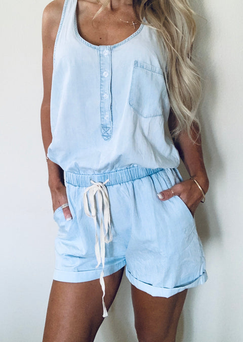 Drawstring Denim Romper
