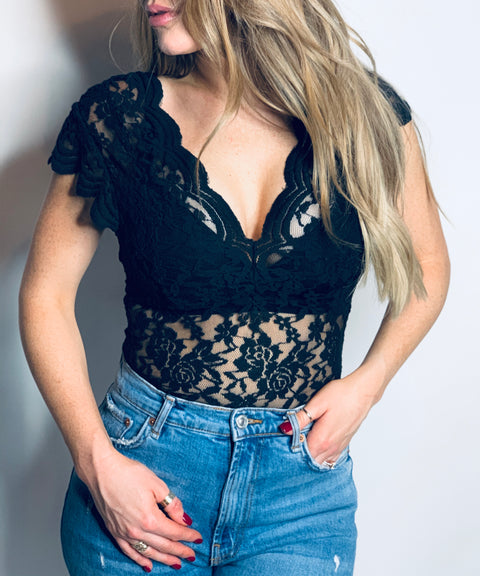 Dream On Black Lace Bodysuit