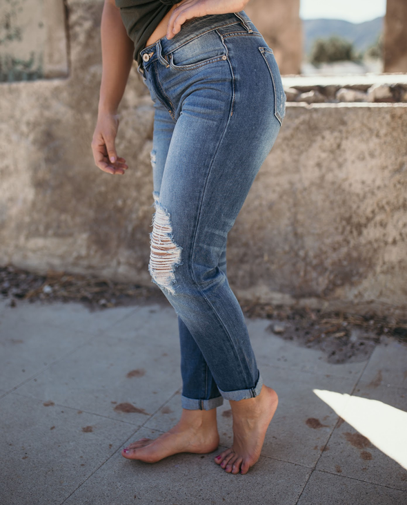 Shop Prescot Jean The perfect distressed relaxed fit jean. With its light blue color and perfect distressing these jeans with be your new favorite! We recommend sizing down one size in these. 54.00 USD // ShopBellaAllure.com