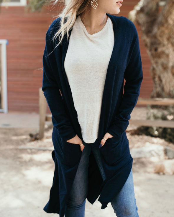 Shop Tres Bien Cardigan Blue This classic style cardigan is perfect as we move into the cooler weather. Easy to pair with most outfits and adds a pop of color!  42.00 USD // ShopBellaAllure.com