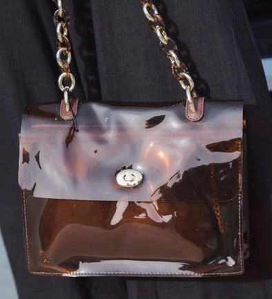 Shop Deluca Handbag * Trendy Transparent Tote Design * Gold & Leopard Chain * Lined Faux Leather Insert 42.00 USD // ShopBellaAllure.com