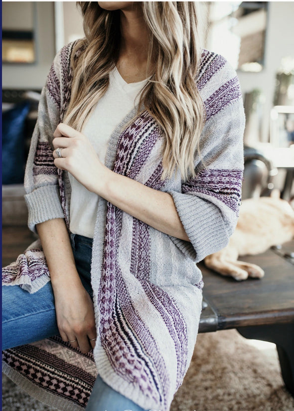 Shop Common Sense Cardigan This 3/4 sleeve cardigan is perfect for that little chill in the air yet adds a touch of style to your outfit. The blend of plums and greys are a perfect color combo. Pairs great with a tee-shirt and jeans or black dress. 46.00 USD // ShopBellaAllure.com