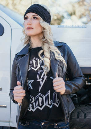 Shop Rock & Roll Tee Rock & Roll. This fun little graphic tee can be paired with so many different pieces and styles. Relaxed fit and true to size.  32.00 USD // ShopBellaAllure.com