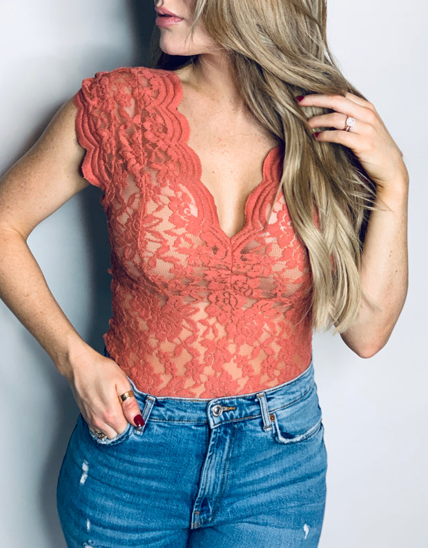 Dream On Lace Rust Bodysuit