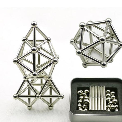 Magnetic Bucky Bars and Balls Construction Sets, Puzzle Stacking Game Sculpture Desk Toys