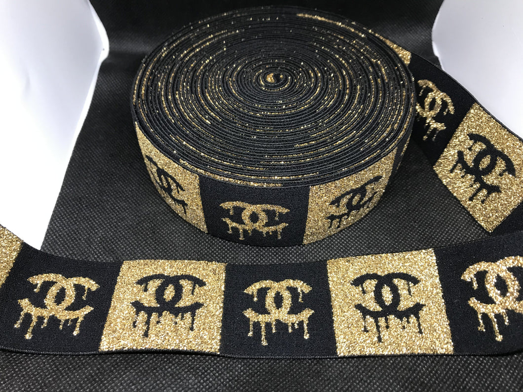 6 Yards 4.5cm Chanel Drip Metallic CC Elastic Waistband material  Designer Bands Jacquard Bandz