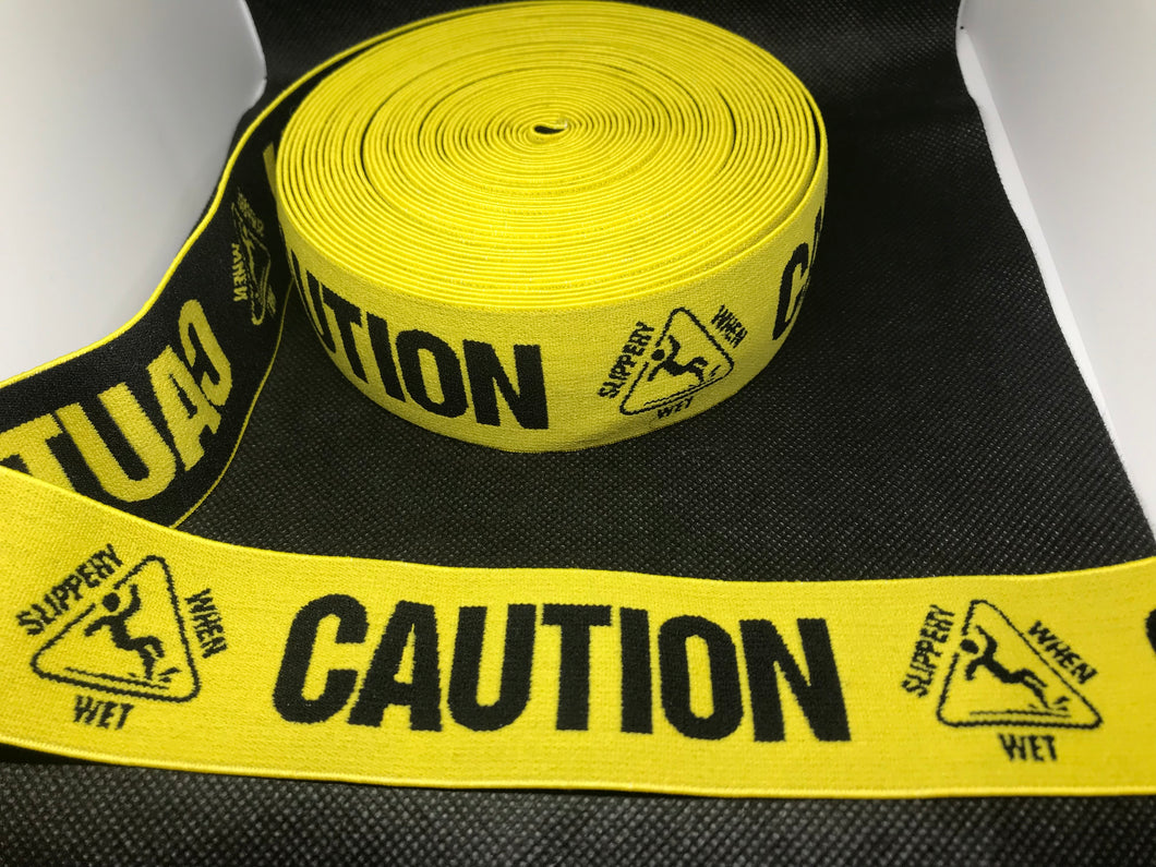 6 Yards 4cm Caution Slippery When Wet Elastic Waistband material  Designer Bands Jacquard Bandz