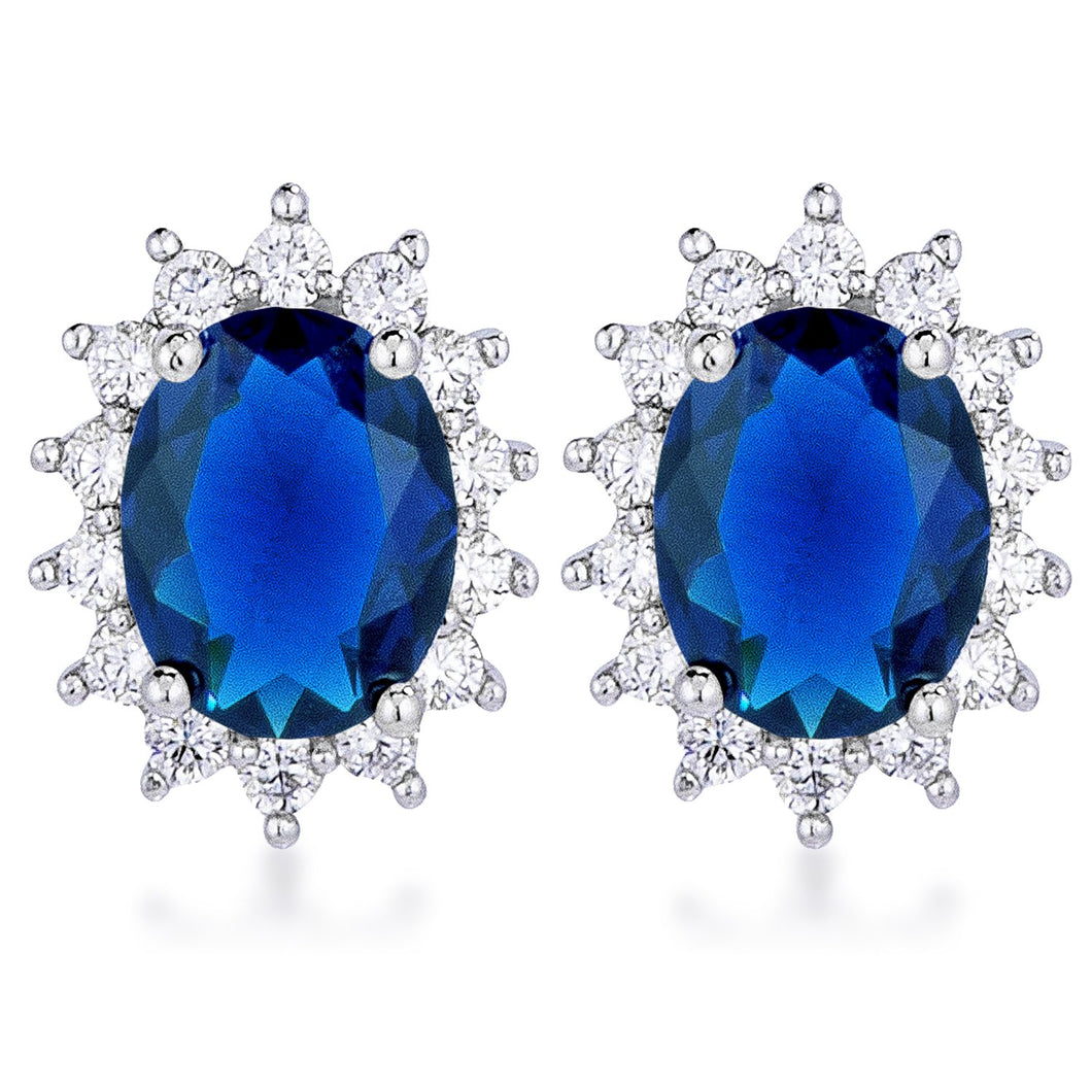 Rhodium Plated Sapphire Blue Petite Royal Oval Earrings