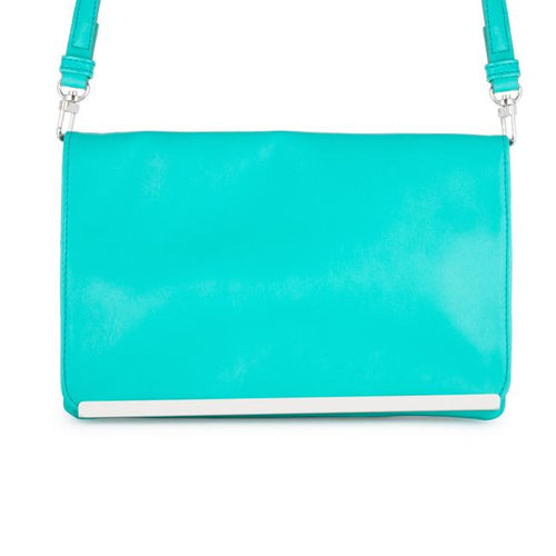 Martha Aqua Leather Purse Clutch With Silver Hardware