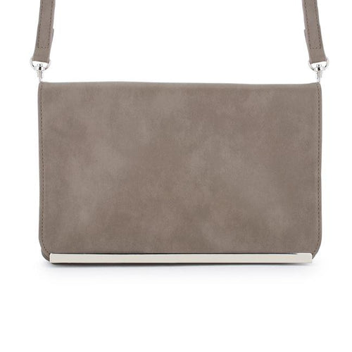 Martha Taupe Faux Leather Purse Clutch With Silver Hardware