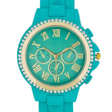 Load image into Gallery viewer, Ava Gold Turquoise Metal Watch With Crystals
