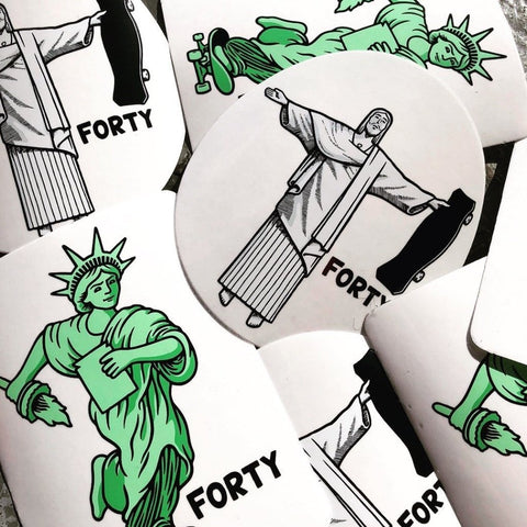 Forty Worldwide Lady Liberty and Rio Stickers by Jon Horner