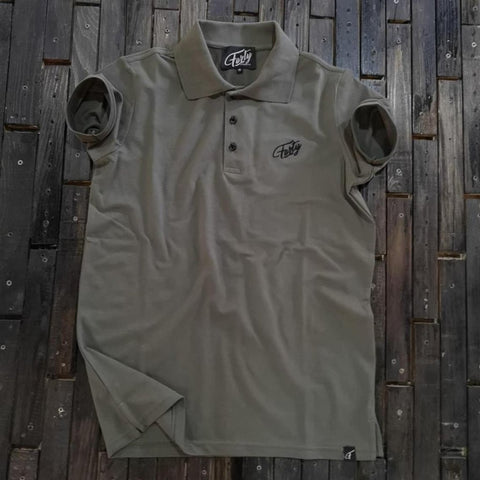 Forty Lowkey Mens Military Green Fitted Polo Shirt