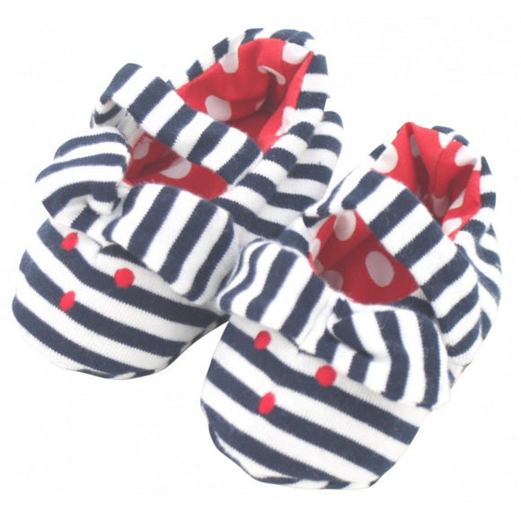 Alimrose Bunny Ear Booties in Navy Stripe