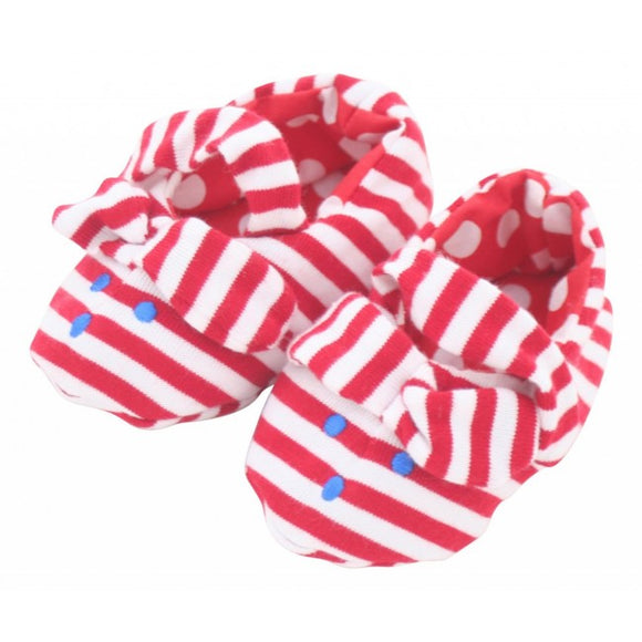 Alimrose Bunny Ear Booties in Red Stripe