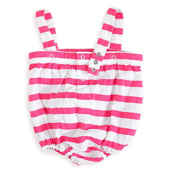 Aden And Anais Muslin Romper - Pink Stripe - Back