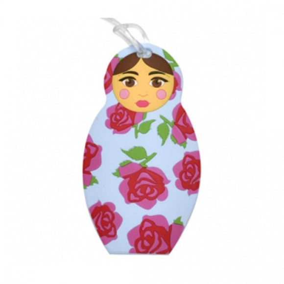 Bobble Art Babushka Rose Baggage Tag