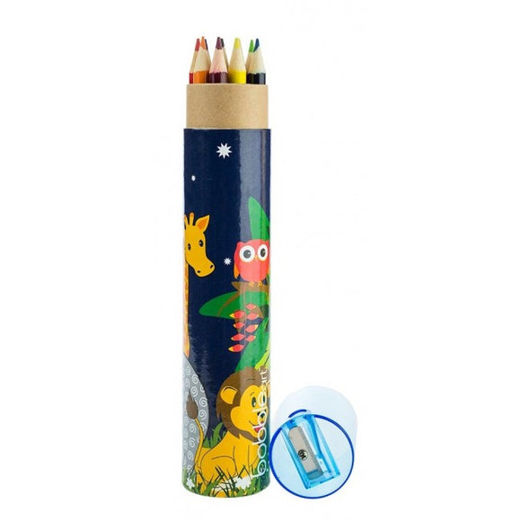 Bobble Art Jungle 12pk Pencil Tube and Sharpener