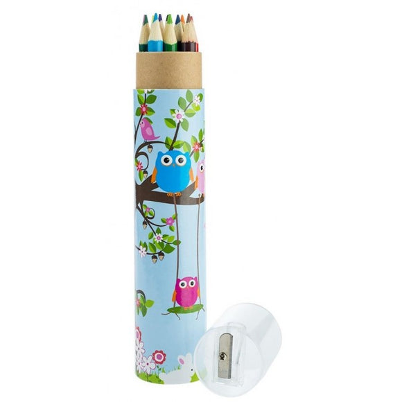Bobble Art Woodland 12pk Pencil Tube and Sharpener