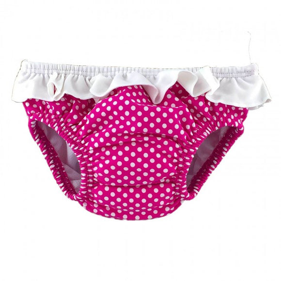 Cuty Pink Polka Dot Reusable Swim Nappy Front