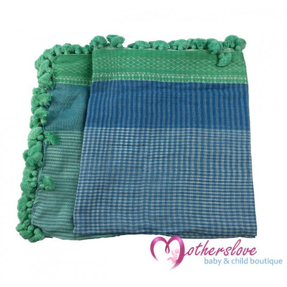 Dlux JoJo Handloomed Cotton Check Baby Wrap in Sea
